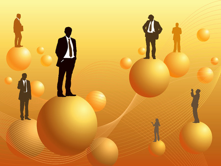 People are standing on the balls in a space, conceptual business illustration. Vector