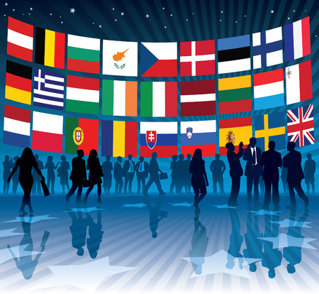 People and a large billboard with a collection of national flags of european countries, conceptual business illustration. Vector