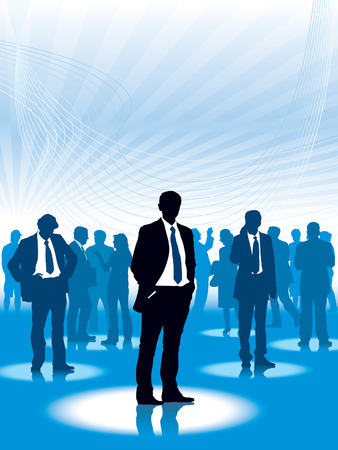 virtual space: Businesspeople are standing in a virtual space, conceptual business illustration.