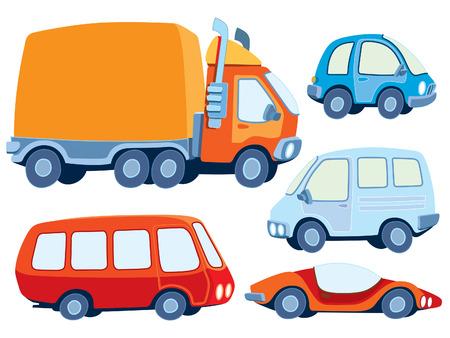 teherautók: Collection of various funny hand-drawn cars - vector illustration