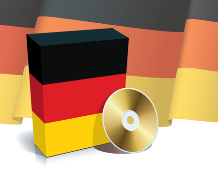 German software box with national flag and CD. Vector