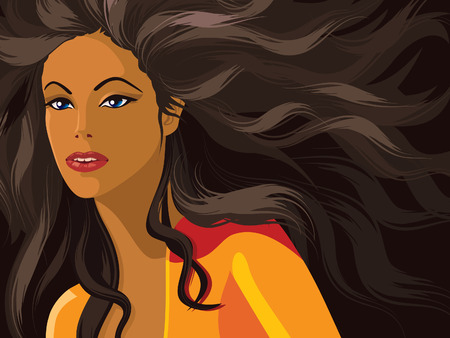 Fashion illustration, portrait of a girl with long dark hair. Vector