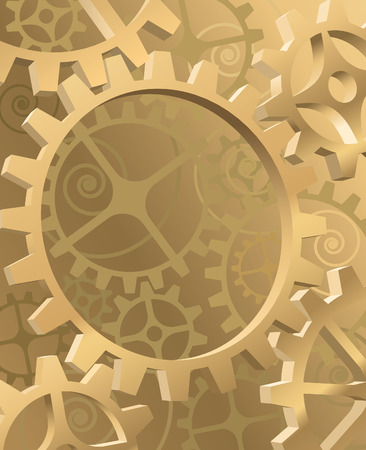 Old machinery background with gold gears and cogwheels Vector