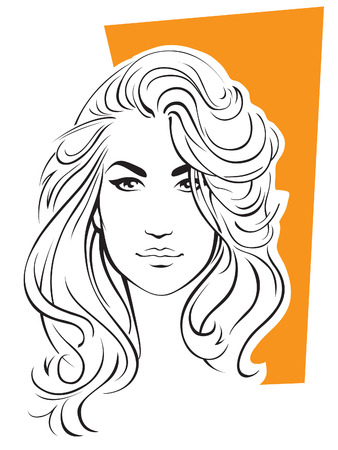 Portrait of young sexy woman with blond hair  Vector