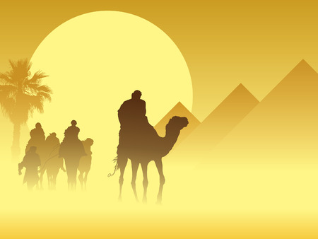 pyramid of the sun: Camel caravan going through the sandstorm near pyramids Illustration