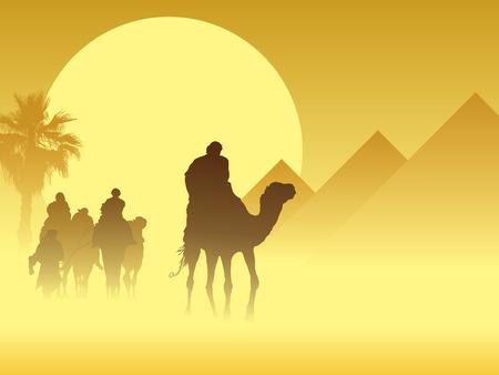 Camel caravan going through the sandstorm near pyramids Vector