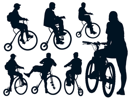 Cycling people. Collection of shapes. Vector illustration. Vector