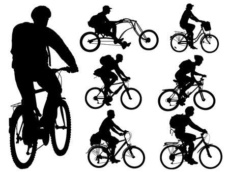 Cycling people. Collection of shapes. Vector illustration. Illustration
