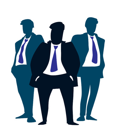 Businessman Leader with his team standing behind him.  Vector