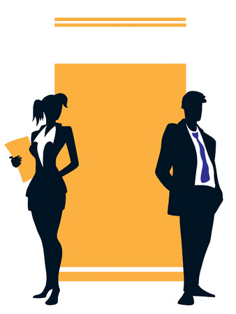 promotion girl: Two young professionals standing in front of a large blank sign