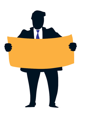 Businessman holding a big empty orange poster. Vector