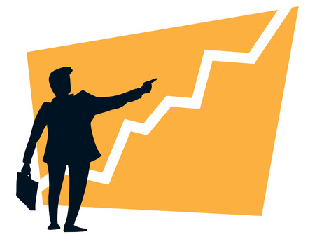 sales chart: Successful businessman pointing a growing graph on a orange background