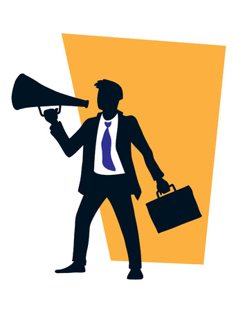 Businessman is using a megaphone. vector illustration Vector
