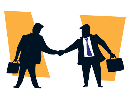 Two businessmen shaking hands finishing up a successful meeting Vector