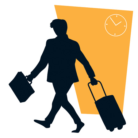 Businessman walking and holding his suitcase and luggage Vector