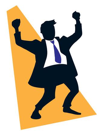 Successful businessman celebrating victory rising hands upward. Vector