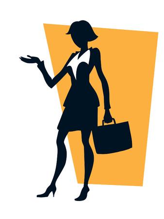 businesswoman suit: Businesswoman celebraci�n maleta y apuntando con la mano, hacer una presentaci�n