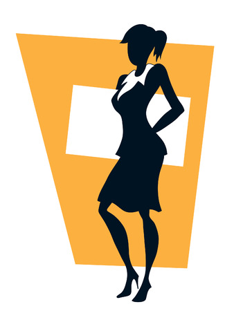Businesswoman standing and holding a white empty poster Vector