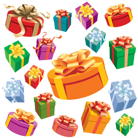 A set of colorful gift boxes. Vector illustration. Stock Vector - 5330213