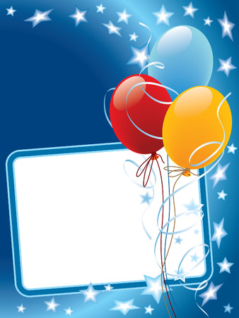 Party decoration with copy space, balloons and stars Illustration