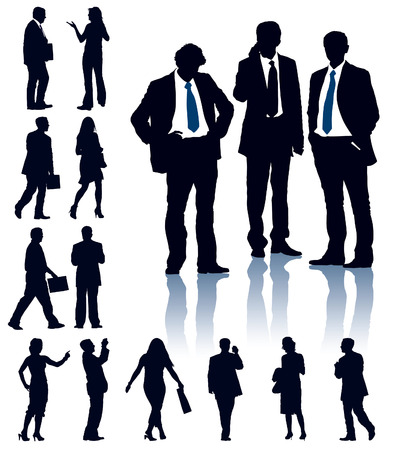 A set of business silhouettes. Vector illustration.
