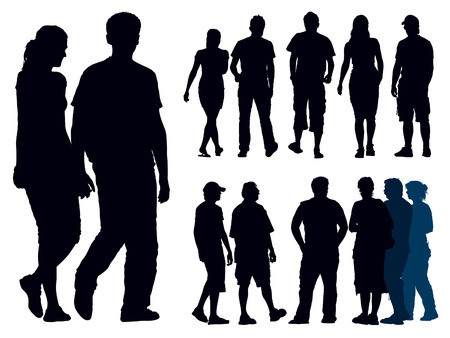 hand stand: A set of people silhouettes. Vector illustration.
