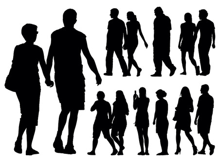 standing on white background: A set of people silhouettes. Vector illustration.