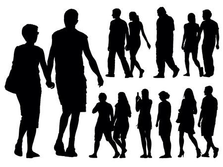 parejas caminando: Un conjunto de siluetas de personas. Ilustraci�n vectorial.