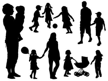A set of parents and children silhouettes. Vector illustration. Stock Vector - 5330222