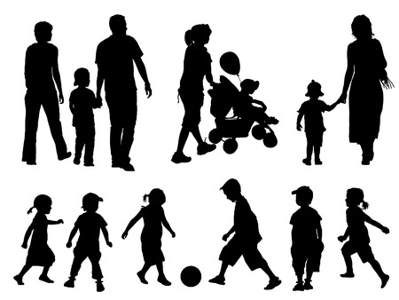 silhouettes of children: A set of parents and children silhouettes. Vector illustration.