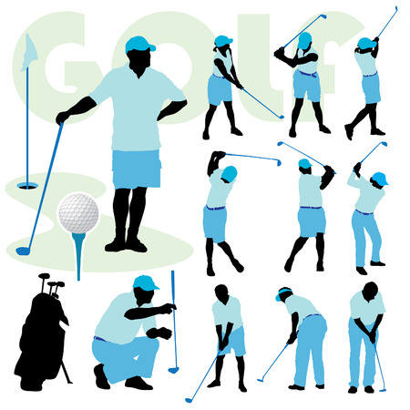 Set of golfing people silhouette on a golf course. Vector