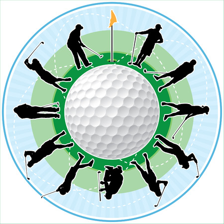 golfing: Golf clock with golfing people silhouettes as numbers of hours.  Illustration