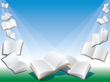 libros abiertos: Abrir los libros de vuelo, de fondo azul con el sol.