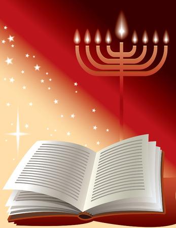 Jewish holiday: menorah, book and sunshine  Vector