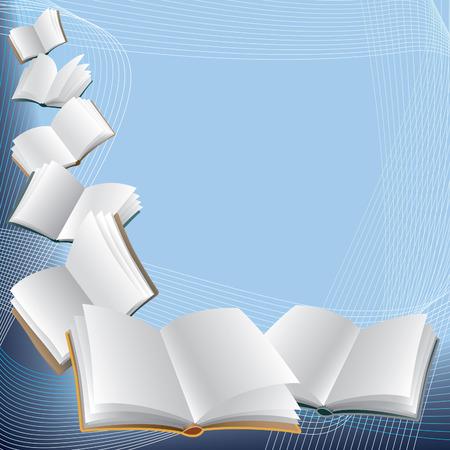 libros volando: Abrir los libros de vuelo sobre fondo azul abstracto.