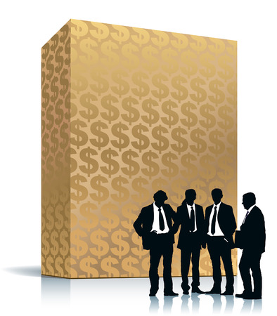 People are standing in front of large golden box with dollar background Vector