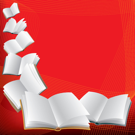 article writing: Open flying books on abstract red background.