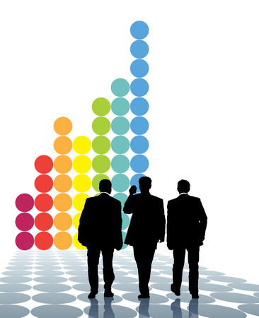 Team of businessmen and a large graph in the background. Stock Vector - 5485962