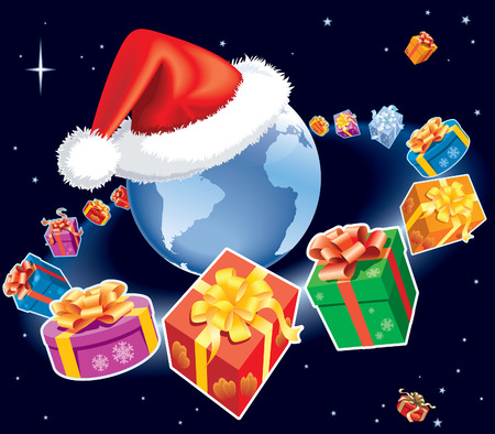 Christmas gifts are flying around earth globe with Santa Claus cap. The base map is from Central Intelligence Agency Web site. Vector