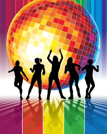 carnaval: Groupe de filles sexy qui dansent dans un club.