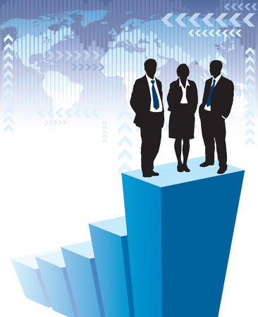 Successful business team is standing on a large graph, world map in the background. The base map is from Central Intelligence Agency Web site. Stock Vector - 5556034