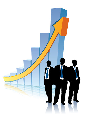 Successful people are standing in front of a large graph, conceptual business illustration.