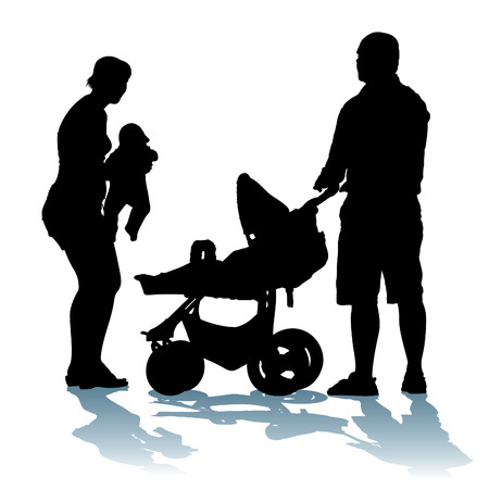 Young, happy family with newborn baby on a walk.  Vector