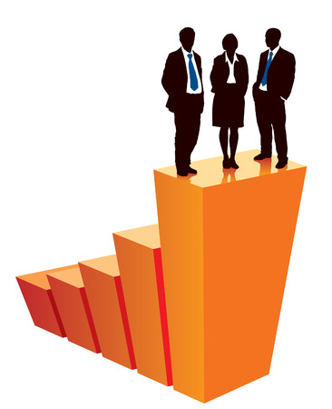 Successful business team is standing on a large graph, conceptual business illustration. Stock Vector - 5576473