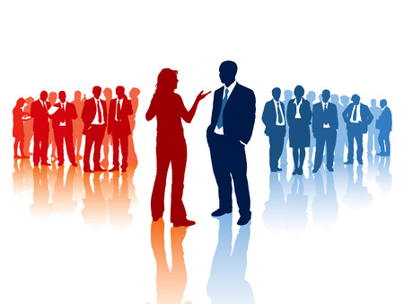 Meeting of two different business teams and their leaders Stock Vector - 5636285