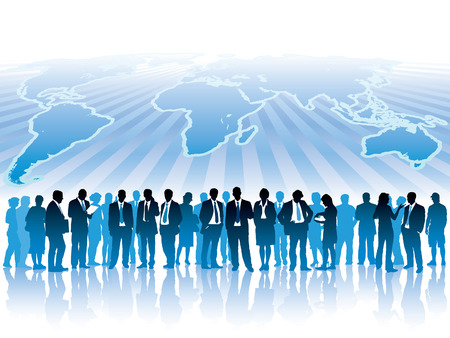 large: Businesspeople are standing in front of large world map. The base map is from Central Intelligence Agency Web site. Illustration