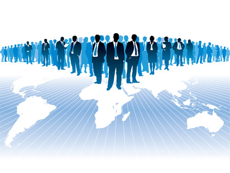 Businesspeople are standing on a large world map. The base map is from Central Intelligence Agency Web site. Stock Vector - 5636286