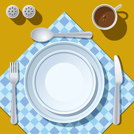 Place setting with plate, fork, spoon and knife Vector