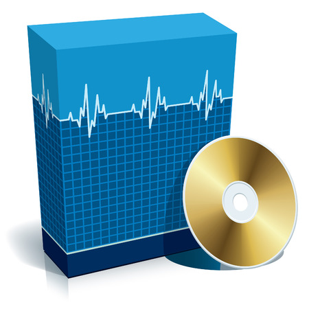 Blue blank 3d box with medical software and CD. Vector