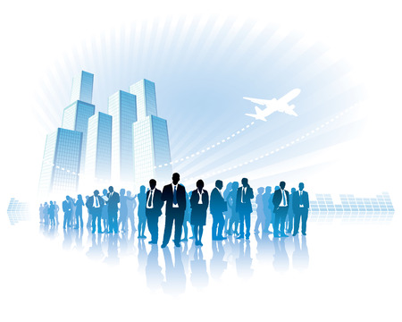 Businesspeople are standing in front of large high buildings.  Vector